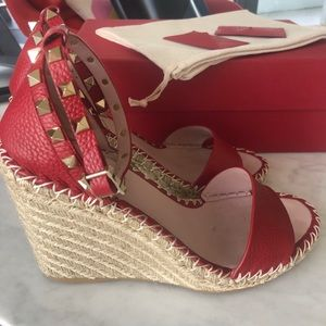 Valentino espadrille wedge sandals red 39